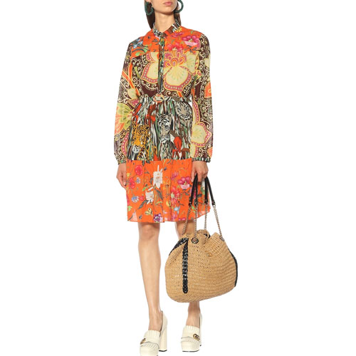 FLORAL PRINTS, WEDGE-HEEL SANDALS AND STRAW PURSES